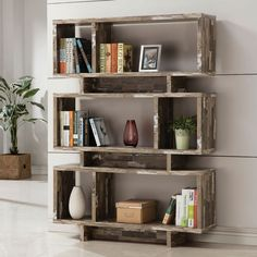 Coaster Furniture Salvaged Cabin Bookcase - A distressed wood finish and three-tiered design featuring framed shelves of different shapes and sizes make this Coaster Furniture Salvaged Cabin Log Cabin Furniture, Coaster Furniture, Home Office Furniture, Furniture Deals, Online Furniture, Bedroom Furniture, Studio Furniture, Discount Furniture, Pallet Furniture