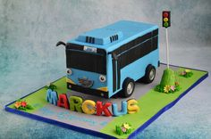 This bus is made with chocolate mud cake weighing 5 Kgs . I used a simple 4 leged structure made of mdf wood so that the bus is suspended about 2 inches above the base board . All the deco is done with fondant and tyres are with gum paste … since. 1 Year Old Birthday Party, 4th Birthday Cakes, Baby Boy Birthday, Birthday Ideas, Bus Cake, Truck Cakes, Tayo The Little Bus, Cakes For Boys, Themed Cakes