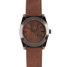 Brown wooden face watch