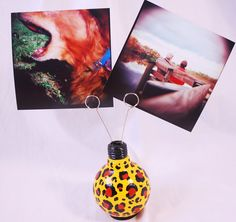 Leopard Print Light Bulb Photo Holder/Flower Vase. $14.00, via Etsy.