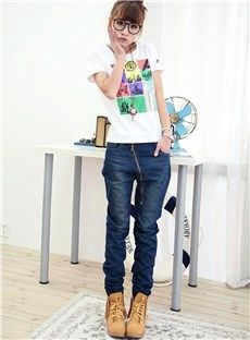 Graceful Zippered Slanting Plus Size Jeans: tidestore.com