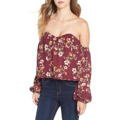 Women's 4Si3Nna Bustier Off The Shoulder Crop Top ($58) ❤ liked on Polyvore featuring tops, purple floral, red off shoulder top, off shoulder crop top, floral tops, red bustier top and off the shoulder tops