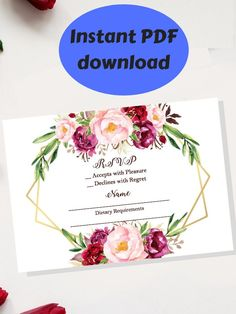 Excited to share this item from my #etsy shop: Floral Wedding RSVP Card Template - Instant Printable PDF Download Wedding Rsvp, Wedding Stationery, Floral Wedding, Purple Elephant, Elephant Art, Work Planner, Weekly Planner, Printable Day Planner, A6 Size