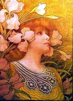 """Sarah Bernhardt"" ~ A favorite subject of his. ~ Alphonse Mucha ~ Miks' Pics ""Alphonse Mucha"" board @ http://www.pinterest.com/msmgish/alphonse-mucha/"