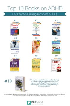 """Top 10 Books on ADHD for Parents, #Parenting #ADHD  compiled by Penny Williams, author of """"Boy Without Instructions: Surviving the Learning Curve of Parenting a Child with ADHD"""" ($6, $8, $10 and $12)"""