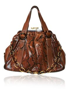 MARC JACOBS Stam Brown Alligator Stamped Leather Bag $550.00  http://www.boutiqueon57.com/products/marc-jacobs-stam-brown-alligator-stamped-leather-bag