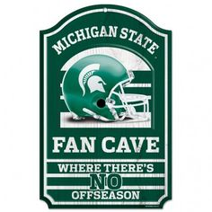 """Michigan State Spartans Wood Sign - 11""""x17"""" Fan Cave Design"""