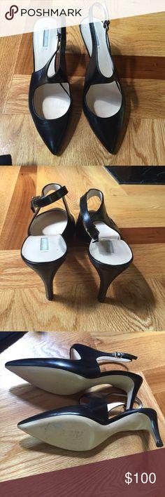 "Giorgio Armani black slingback pumps sz 36.5 Giorgio Armani black funky slingback pumps sz 36.5. Low heel, about 2."" Giorgio Armani Shoes Heels"