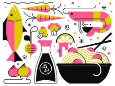 Chinese Food illustration by R A D I O Collage Illustration, Food Illustrations, Vegetable Packaging, Menu Design, Food Design, Label Design, Sushi Restaurants, Food Icons, Food Packaging Design