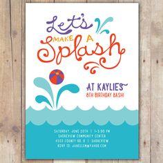 (font like this) Splash  Custom DIGITAL Birthday Pool Party by KimNelsonCreative, $15.00
