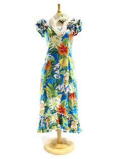 PL 334-3799 Ruffle Long Muumuu [Blue] - Long Dresses - Hawaiian Dresses | AlohaOutlet SelectShop