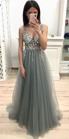 New A Line V-Neck Gray Prom Dresses Beaded Sequin Evening Dress - . New A Line V-Ausschnitt Grau Ballkleider Perlen Pailletten Abendkleid - . New A Line V-Neck Gray Prom Dresses Beaded Sequin Evening Dress - Outfit - dress dresses Grey Prom Dress, Beaded Prom Dress, Lace Dress, Tulle Gown, White Dress, School Dance Dresses, Winter Formal Dresses, Prom Dresses For Teens Long, Long Dress For Prom