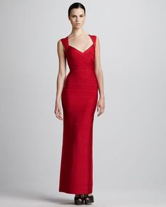 29b93fd8f782 Herve Leger - Open-Back Bandage Gown Military Ball Gowns