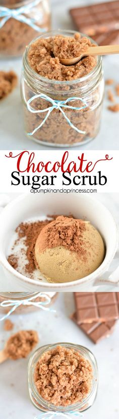 DIY Masque : Description DIY Chocolate Sugar Scrub www. Sugar Scrub Homemade, Sugar Scrub Recipe, Diy Body Scrub, Diy Scrub, Diy Spa, Zucker Schrubben Diy, Diy Cosmetic, Diy Masque, Homemade Beauty Products