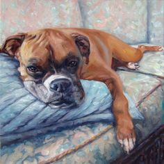 Boxer Lola is a girl who knows how to relax! as she represents this listing for the CUSTOM oil portrait painting in the 10x10 size. Commission a pet portrait by puci of YOUR beloved pet. In short, heres how: – Message me some photos & your ideas for the painting. ~ I create the pre-painting composition for you OK using your photos & the magic of Photoshop. – I paint your beloved. ~ Final payment is made after youve seen photos of the finished painting. ~ The 3/4 inch thick sides...