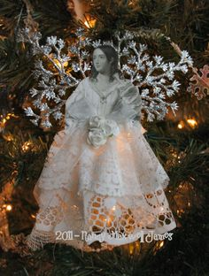 Frosted SNOW ANGEL I Ornament with silver tinsel wings and lace skirt