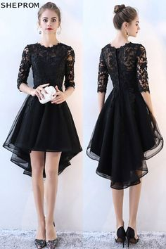84aeecb9cd0 Lace Half Sleeve High Low Black Prom Dress  BLS86046 at SheProm.  SheProm is
