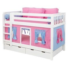 Hot Shot Girl Twin over Twin Tent Bunk Bed Purple & Light Blue & Hot Pink Tent - MXTX148-5, Durable