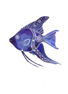 Blue AngelFish Archival Art Print. $15,00, via Etsy.