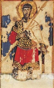 Saint Theodore, byzantine miniature from the Lives of the Saints (Vita dei Santi), Greek manuscript, 12th Century.