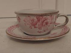Vintage German Enamelware Cup & Saucer Pink Roses Enamel Teacup