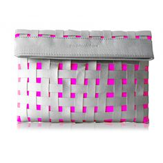 Woven Apart Clutch in Silver   Neon Pink by Poupee Couture from boticca.com