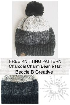 Free Knitting Pattern Charcoal Charm Classic Beanie Hat , kostenlose strickmuster charcoal charm classic beanie hat , bonnet classique à motif de charbon de bois Beanie Knitting Patterns Free, Beanie Pattern Free, Knit Headband Pattern, Knitted Headband, Loom Knitting, Free Knitting, Knitted Hats, Crochet Patterns, Start Knitting