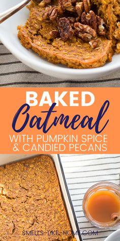 This baked oatmeal is packed with fall flavors and is perfect for feeding a crowd. Or, bake it on the weekend and freeze for later. It's healthy, yummy and easy to make. Easy Waffle Recipe, Waffle Recipes, Oatmeal Recipes, Brunch Recipes, Fall Recipes, Dessert Recipes, Pumpkin Custard, Pumpkin Scones, Baked Pumpkin