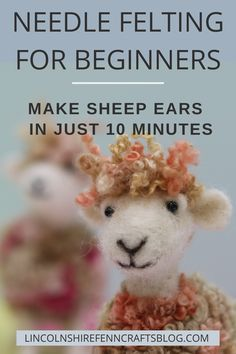 Fast, easy and effective way to create little needle felted sheep ears. Skill Level: complete beginners Time to make: 10 minutes You will need:Felting needle or 38 gauge) Kit needles are size 38 Pinch of wool top/roving or batting Wool Needle Felting, Needle Felting Tutorials, Needle Felted Animals, Nuno Felting, Felt Animals, Sheep Ears, Felted Wool Crafts, Felt Birds, Felt Cat