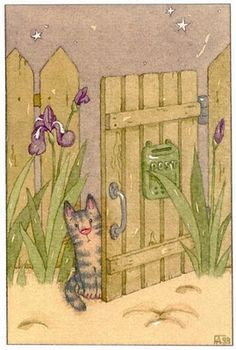 La barrière et le chat:) So wonderfully striped with the sweet pink nose:) #cats #LaBarrièreEtLeChat