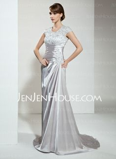 Mother of the Bride Dresses - $146.99 - A-Line/Princess Scoop Neck Court Train Charmeuse Lace Mother of the Bride Dress With Ruffle Lace Beading (008006138) http://jenjenhouse.com/A-Line-Princess-Scoop-Neck-Court-Train-Charmeuse-Lace-Mother-Of-The-Bride-Dress-With-Ruffle-Lace-Beading-008006138-g6138