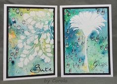 Caro's Welt: Brusho und Embossing using Designs by Ryn: Water Droplets, Hanging Droplet Set (stamps) and Maidenhair Fern (stencil)