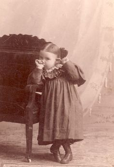 VICTORIAN Little Phoebe SUCKING Her THUMB and Tugging On Her Ear Photo Lake Mills Wisconsin 1894. $49.00, via Etsy.