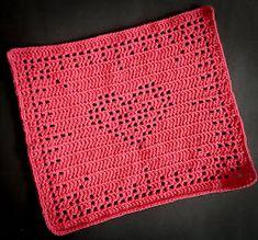 Ravelry: Pleated heart dishcloth pattern by Ida P Crochet Home, Crochet Baby, Knit Crochet, Crochet Dishcloths, Crochet Stitches, Crochet Letters, Knitted Heart, Love Valentines, Double Crochet