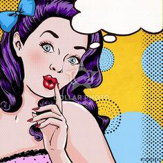Pop Art illustration of girl with speech bubble.