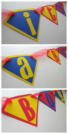 """Superman Superhero themed """"It's a boy"""" banner for baby shower. $16, Banana Lala Party Designs on Etsy"""