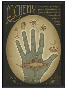 Alchemy:  #Alchemy Blue Hand, by Artwork Enclosed on Gilt Home.