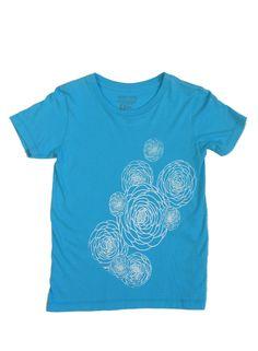 Flower Power: Hand Printed 100% Organic Cotton Original Mushpa + Mensa Design Youth T-Shirt #flowers #flower power #organic cotton #PermasetAqua #alternativeapparel #mushpamensa #mushpaymensa #mushpa #mensa #freehand #organic #flower #magic