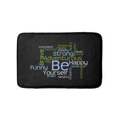 BE Yourself Inspirational Word Cloud Bath Mat