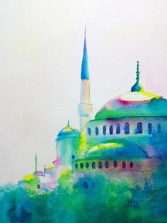 Blue Mosque in Greens watercolor painting by Carlin Blahnik. A historic monument in Istanbul. Known as the Blue Mosque for the blue tiles adorning the walls of its interior. I took artistic liberty with the mostly green colors. My goal in this painting is to highlight the many soft dome shapes. The bright white of the paper shows at the tops of the domes. Paint pigment was introduced wet on wet and allowed to mingle to create a wonderful variety of colors. http://www.carlinart.com/