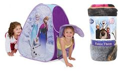 Disney Frozen Classic Hideaway Popup Tent Featuring Anna Elsa and Olaf and Disney Frozen Fleece Thr @ niftywarehouse.com #NiftyWarehouse #Frozen #FrozenMovie #Animated #Movies #Kids
