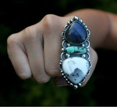 Dendrite Opal Turquoise Labradorite Statement Ring Big