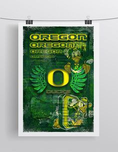 Oregon Ducks Poster, Oregon Ducks Gift, Ducks Man Cave, University of Oregon Print