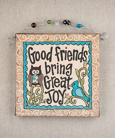 Take a look at this 'Good Friends' Owl Beaded Canvas by Glory Haus on #zulily today!