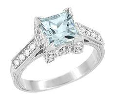 Art Deco 1 Carat Princess Cut Aquamarine and Diamond Engagement Ring in Platinum $4,310.00 http://www.antiquejewelrymall.com/r495a.html