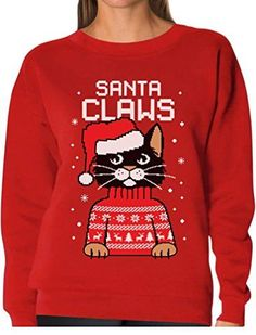 TeeStars - Santa Claws Cat Ugly Christmas Sweater Women Sweatshirt Medium Red. OUTSTANDING FABRIC QUALITY! Santa Claws Funny Ugly Xmas Women's Sweatshirt a must have for Christmas ugly sweater contest!. CAT FRIENDLY Material. COZY and WARM non itchy fabric. WAY BETTER than a sweater!. SUPER FAST SHIPPING! 100% MONEY BACK GUARANTEE. Fun Christmas gift idea. Great Xmas Sweatshirt for parties! Great Xmas present for cat lover. 50% cotton 50% polyester. Printed in the USA. Official Teestars...
