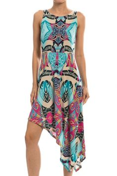 Mixed Print Asymmetrical Sleeveless Dress, Jade