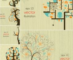 Decorative abstract trees vector