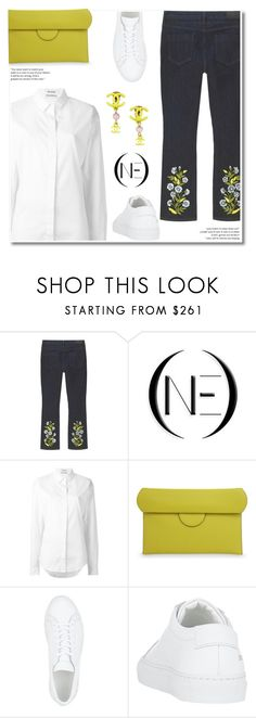 """""""Embroidered  jeans"""" by paculi ❤ liked on Polyvore featuring Anthony Vaccarello, Roksanda, Common Projects, Chanel, vintage, StreetStyle, casual, SpringStyle, onedenim and slimdenim"""