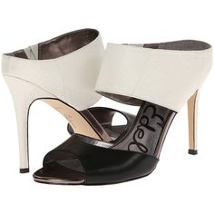 Sam Edelman Scotti (Black Snow White) High Heels ($104) ❤ liked on Polyvore featuring shoes, black, sexy black shoes, black peep toe shoes, slip on shoes, sexy shoes and black high heel shoes